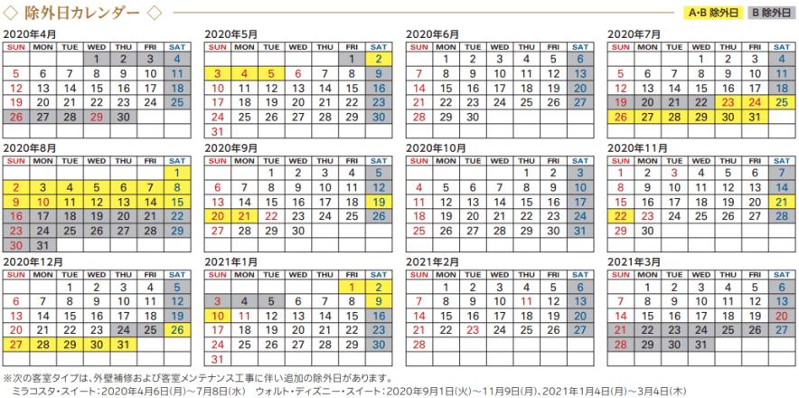 JCBザ・クラスのディズニーホテル スイートルーム優待の除外日カレンダー