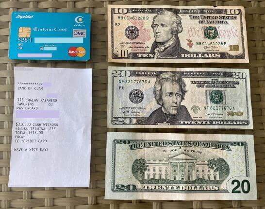 海外ATMで引き出した米ドル紙幣とセディナカードJiyu!da!、利用明細