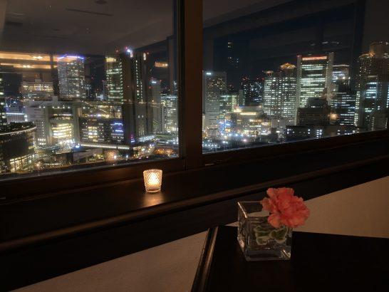 ウェスティンホテル大阪のエグゼクティブクラブラウンジの夜景