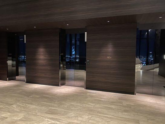 コンラッド大阪の40Fのエレベーター