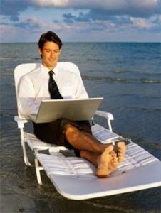 """What? You want to access your own site? Sorry, only I can make changes. Good thing I brought my computer to the beach with me..."""