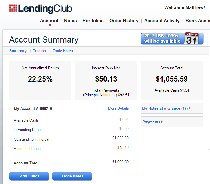 My Account Summary - Lending Club - 01-31-13