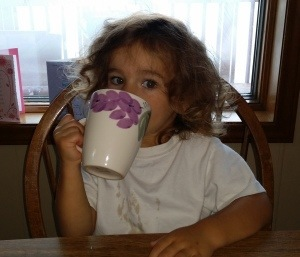 My Girl - Laney - drinking coffee at 2 years old.