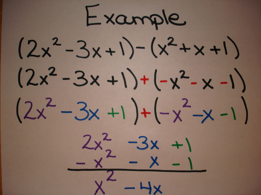 Adding And Subtracting Polynomials Worksheet Grade 9