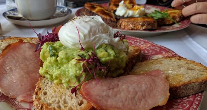Smashed avocado and poached egg at Blackbird Tea Rooms