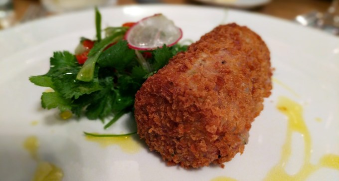 Ham hock and spring onion croquette