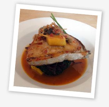 chargrilled tuna steak on a Thai-style salad
