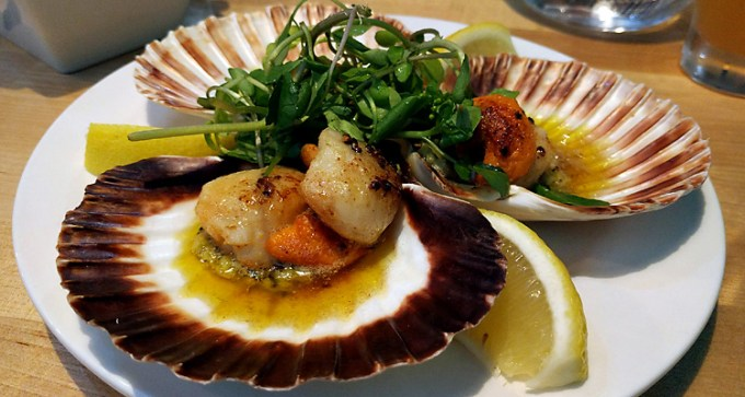 Scallops with home-made broad bean pesto