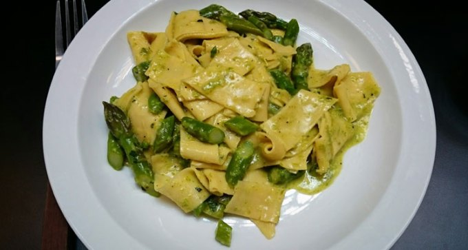 Tagliatelle with Norfolk asparagus and pecorino at Padella