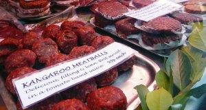 Kangaroo meatballs and burgers.