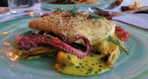 Brasserie: gigha halibut with braised octopus