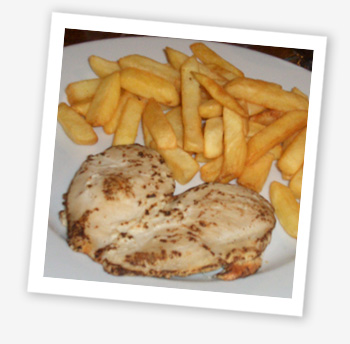 Chargrilled chicken served with creamy mushroom sauce and chips