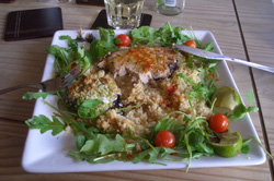 Tasty tuna steak with lime and chilli dressing