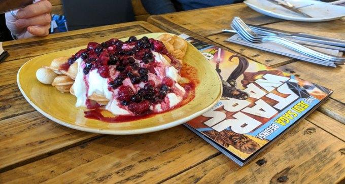 Mixed berry, yogurt and honey waffle