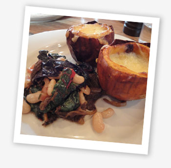 Elliot's Café, London: baked pumpkin, raschera cheese, mushrooms and chard