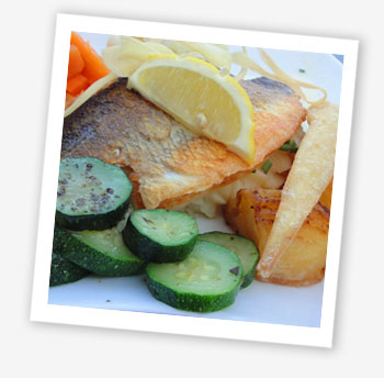 The Fisherman's Cottage, Shanklin Chine, sea bass fillet on chive mash with fresh vegetables