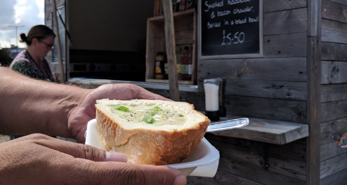 Smoked haddock and bacon chowder, served in a bread bowl