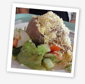 Jacket potato with cheese and salad