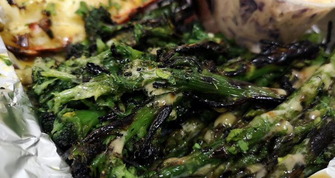 Char-grilled Isle of Wight asparagus and tenderstem broccoli