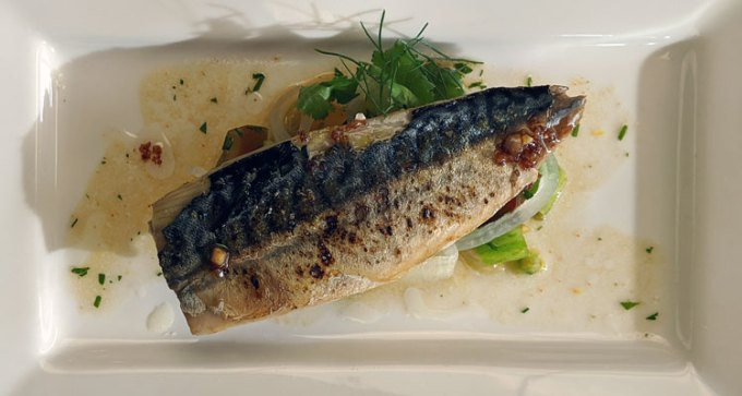 Roasted mackerel, tomato and fennel salsa, roast garlic dressing