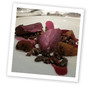 Roasted pigeon, garlic, pickled beetroot and crunchy grains