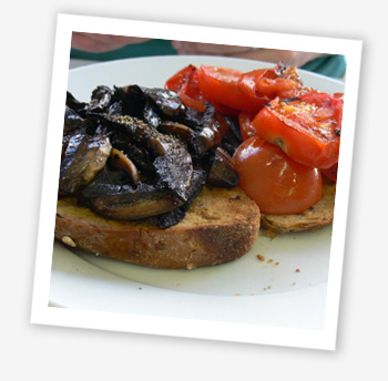 Mushroom and tomato on toast