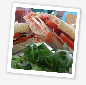 Island Deli; baguette with chorizo