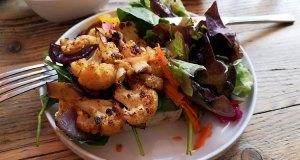 Cajun cauliflower sub and rainbow salad