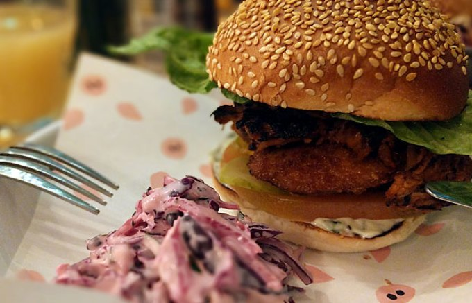 Pigsty: aubergine and pulled pork burger