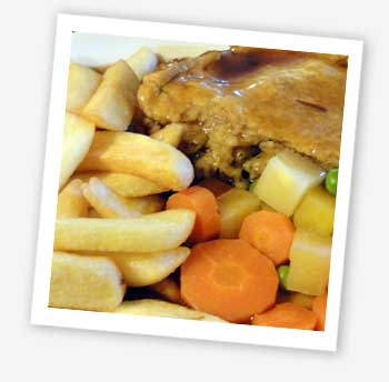 chicken and mushroom pie and chips