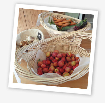 Baskets of fruit and vegetables