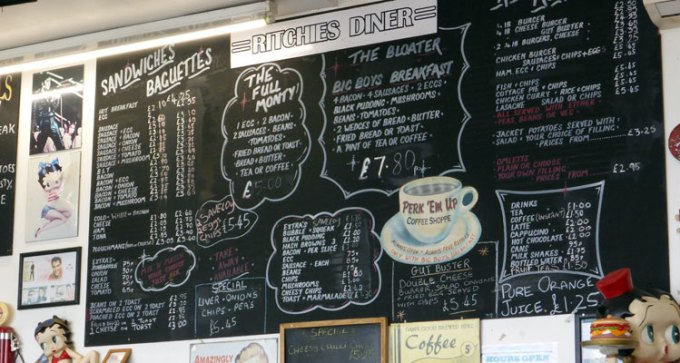 Menu at Ritchies Diner
