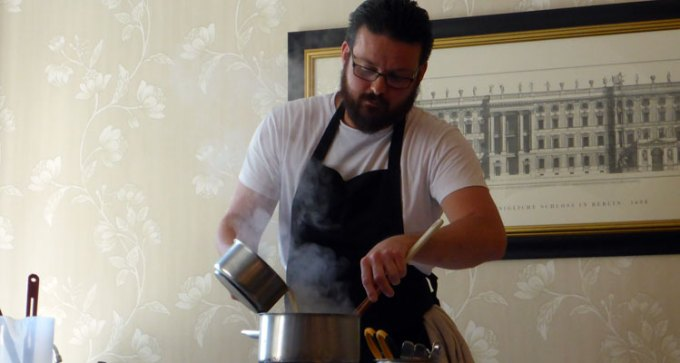 Sous chef Jon-Paul Charlo demonstrates seafood risotto