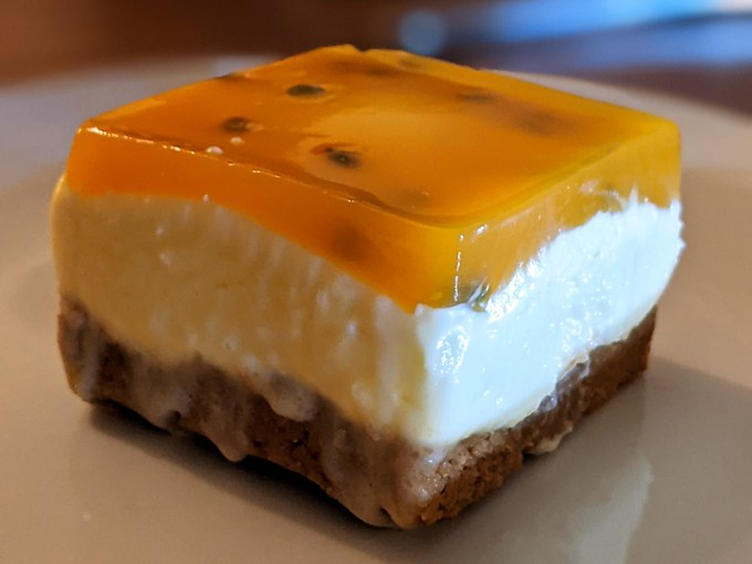 Passion fruit and stem ginger cheesecake