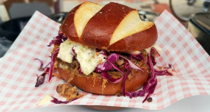 Pulled jackfruit pretzel bun by the Southsea Village