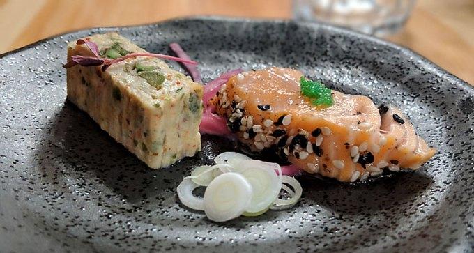 Salmon tataki and asparagus tamagoyaki
