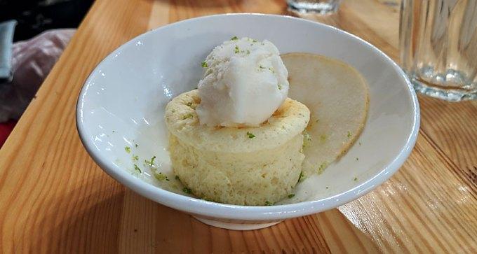 Japanese cheesecake, yuzu ice cream