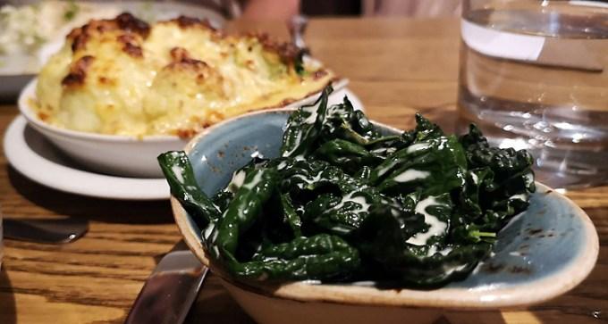 Creamed kale and cauliflower and broccoli gratin