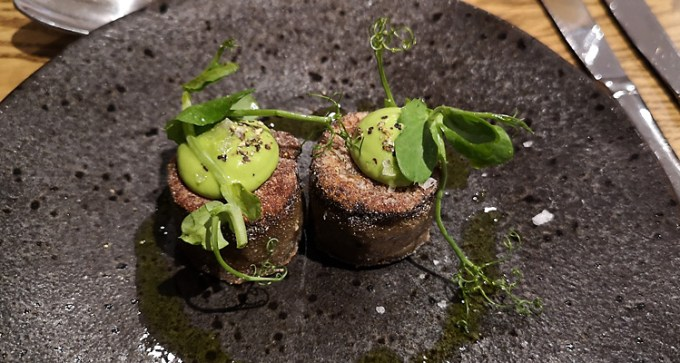 Oyster mushrooms scallops with pea puree