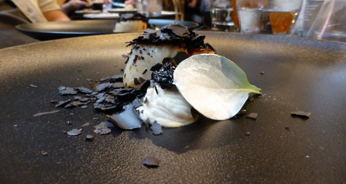 Scallop cooked under embers