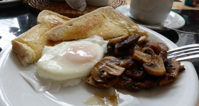 Poached egg and mushrooms