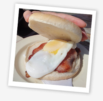 Bacon and egg soft bap