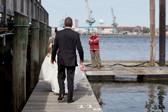 First Mate greets newlyweds