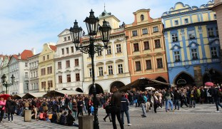 Crowds gather hourly for the tolling of the Old Town astronomical clock.