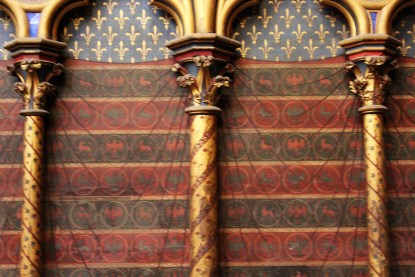 Sainte-Chapelle is highly decorated ceiling, walls and floors.