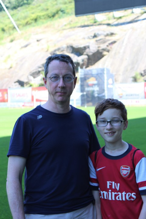 Matt and Declan as close to the pitch as we are allowed to get.