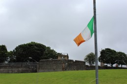 View from the Bogside toward the walls of Derry.