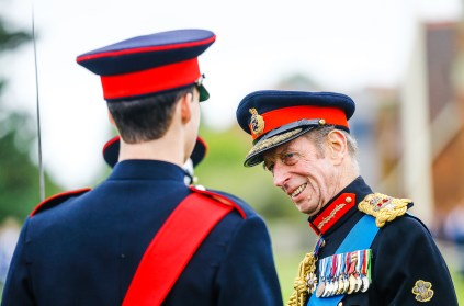 The Duke of Yorks Military School Grand Day 2016 patron the Duke of Kent carries out an inspection.