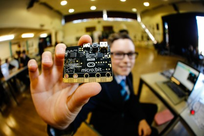 A BBC Micro:bit. Norton Knatchbull School, Hythe Rd, Ashford. Institution of Engineering and Technology's Faraday Challenge Day - students will become real-life engineers for a day when they research, design and build solutions to real engineering problems.