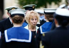 Councillor Ann Taylor inspects the cadets. Sea cadets' Trafalgar Day parade.